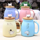 wholesale online 450ml Creative color animal cat heat-resistant Mug cartoon with bamboo lid cup kitten coffee ceramic 3d mugs