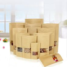 Recycle stand up pouch ziplock dried biodegradable kraft paper packaging bag with window kraft paper pouch for food