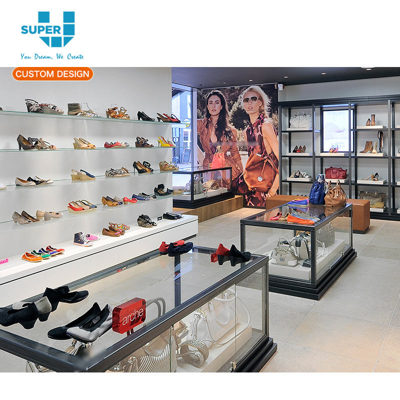 10 Years Factory Shoes and Bag Display for Woman Shop Decoration Layout Equipment