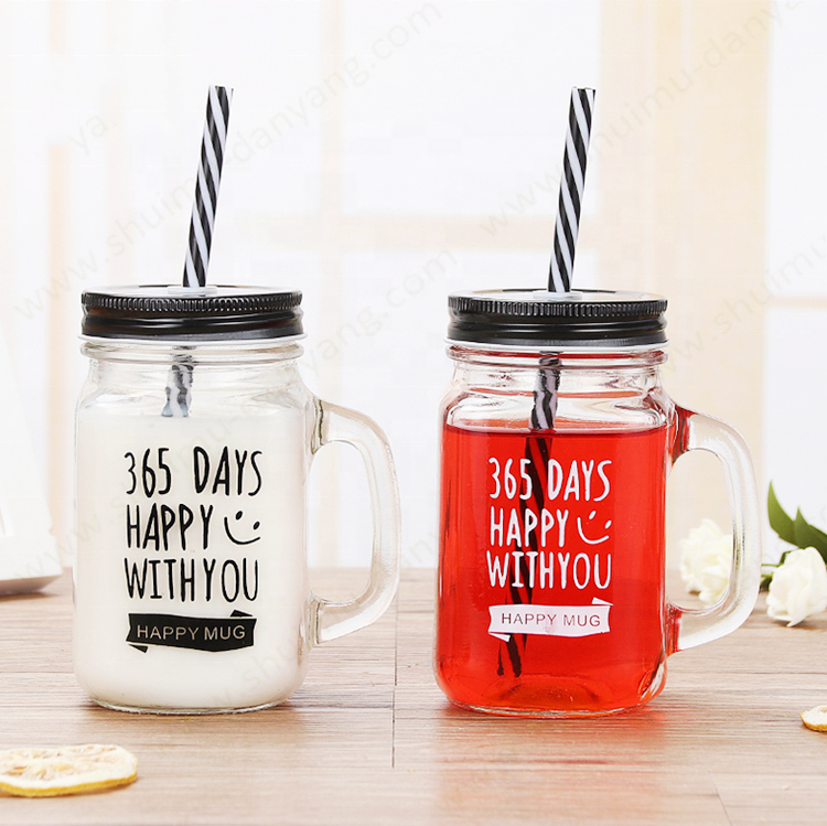 Empty manufacturer 16oz colorful empty drinking ice cold drink glass mason jar with lid handle