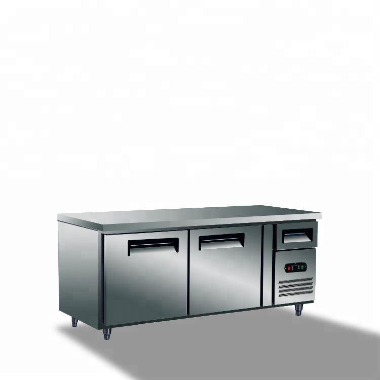 Orizzontale Sottopiano Cucina In Acciaio Inox 2 Porta Commerciale Sotto Il Contro Tavolo Da Bar Congelatore Del Frigorifero Del Frigorifero