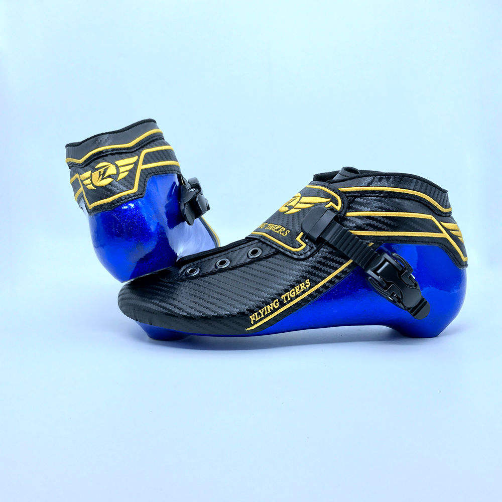 New High Quality Professional Blue Carbon Fiber Inline Skate Boot Roller Racing Skate Boot