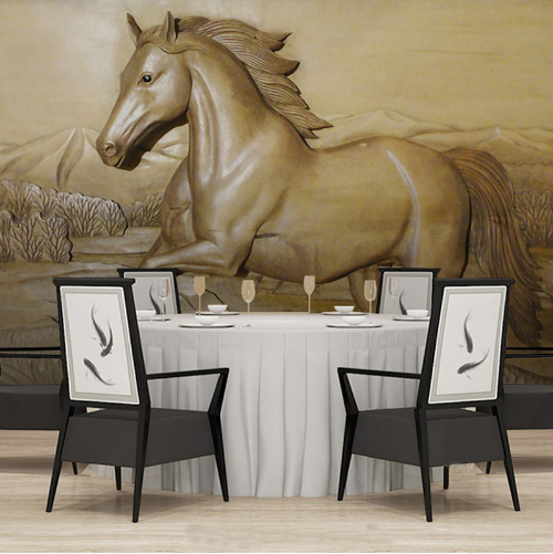 3D Horse Stone Industrial Sofa Background Wall Murals