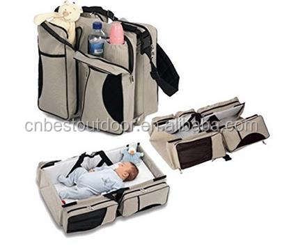 Baby 3 in 1 Portable Bassinet, Diaper Bag and Change Station with Fitted Sheet and Carabiner Keyring