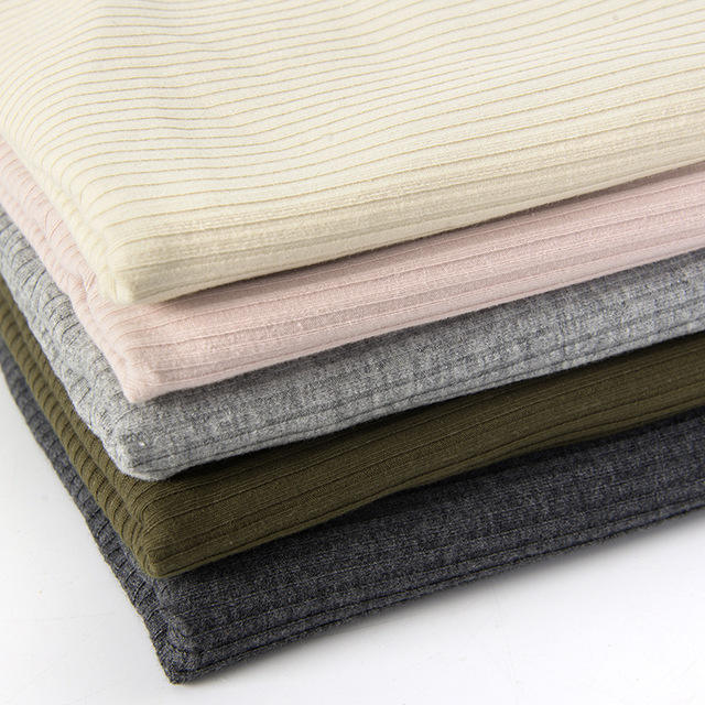 Winter Spring fine solid color 4*2 rib knit 220 gsm cotton t shirt fabric