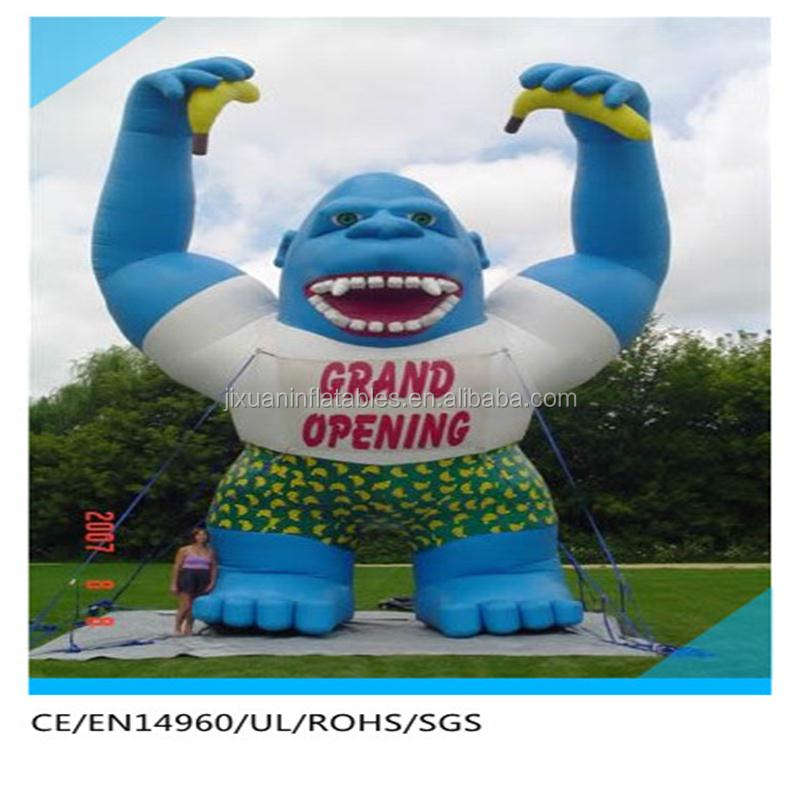 blue giant inflatable gorilla with Short skirt for advertising