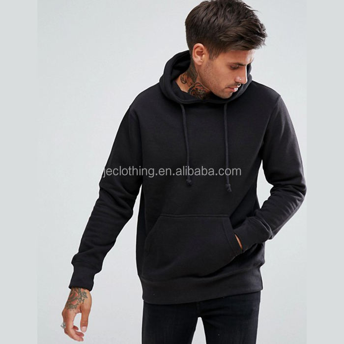 Cotton Pullover Drawstring Blank Black Men's Hoodie