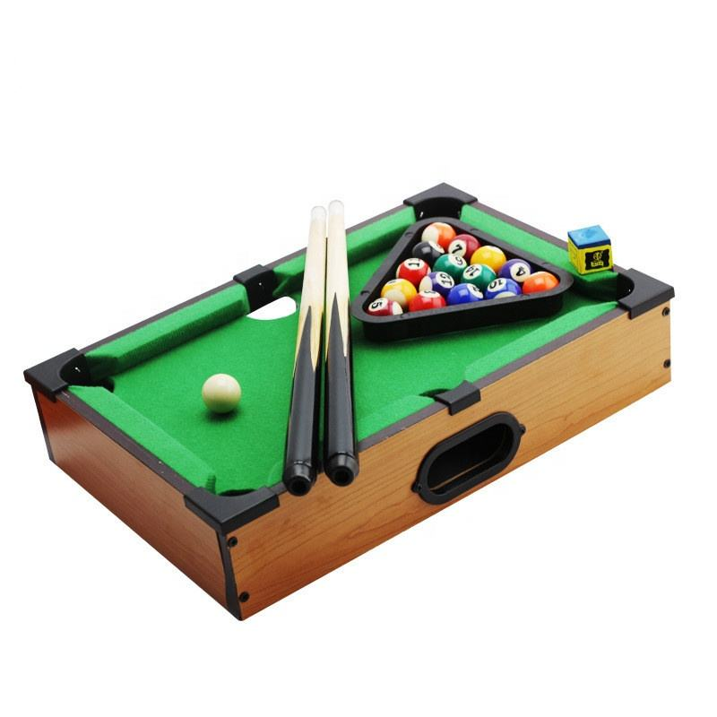 Portable Mini Tabletop Pool Set Billard Game Includes Game Balls Sticks Chalk Brush and Triangle
