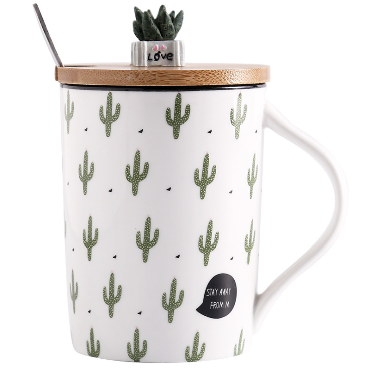 cactus potted plant cartoon ceramic mug with spoon bamboo lid for kids house office breakfast