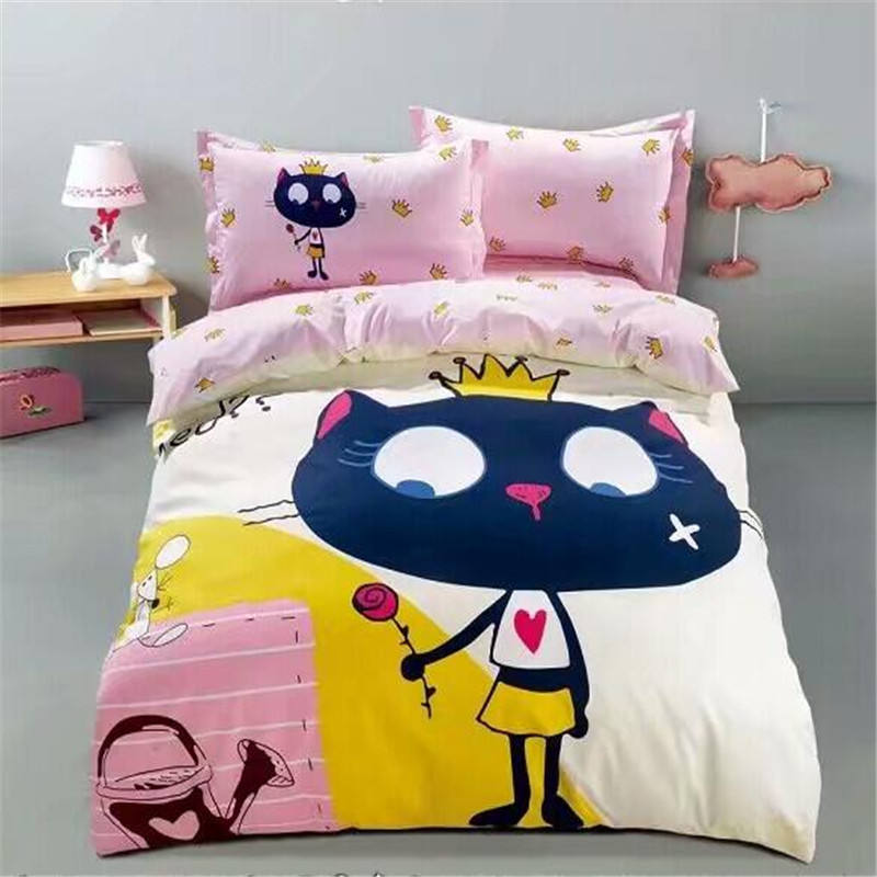 100% reactive printing twill cotton 3 piece comfortable bedding set for kds single size 40s 200TC