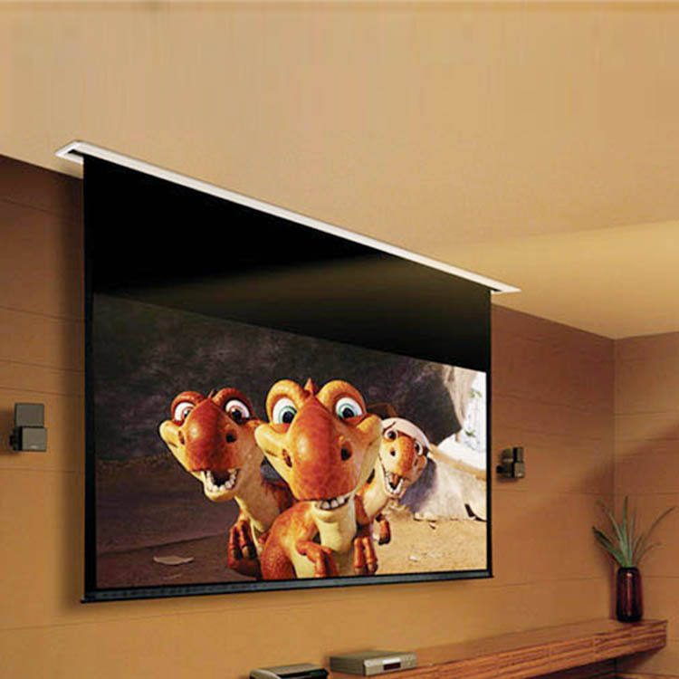 100 Inch 1:1 Cina Grosir LED TV Ceiling Motorized Layar Proyektor