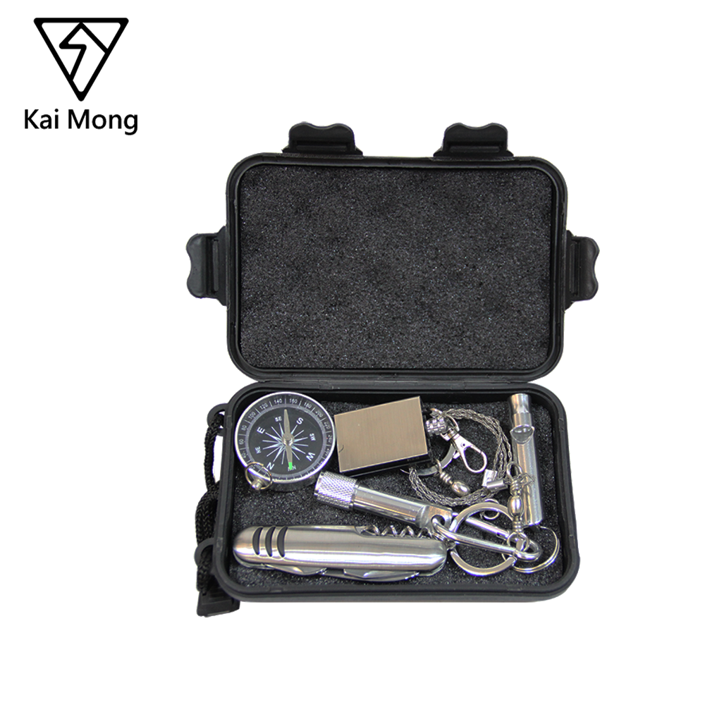Portable Emergency Gear Outdoor SOS Equipment Camping Hiking Traveling Climbing 6 in 1 Survival Kit