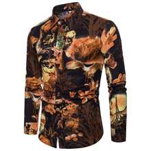 European Style Mens Dress Shirts Plus Size Single Breasted 3D Shirt Men Long Sleeve High Quality Floral Shirt camisa masculina