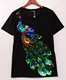 Noble Elegant Women Peacock Sequined Sequins T-shirt Fashion New Top