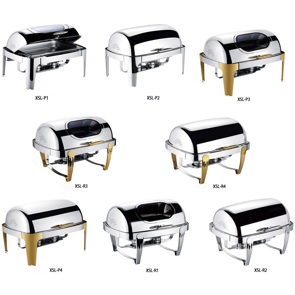 Wholesale restaurant hotel supplies roll top chafing buffet stove with window roll top chafing buffet food warmers