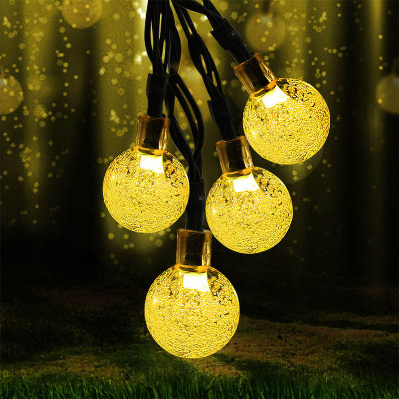 Outdoor 30led Solar Aangedreven Waterdichte Holiday Christmas Party Decoratie Kristallen Bol Tuin Fairy Solar Bubble String Lights