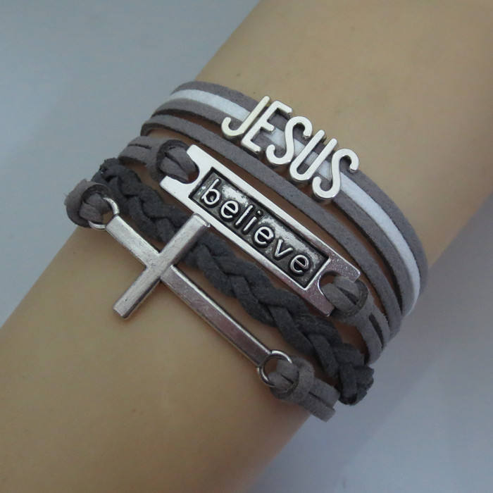 Love Jesus Christ bracelet cross charm Christian gift jesus bangle leather wrap bracelets