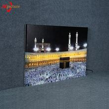 Islamic Building Wall Art Home Decoration LED Lighted Box HD Canvas led light painting