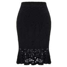 CL010913 Grace Karin Women Solid Floral Lace Hips-Wrapped Bodycon Pencil Mermaid Office Skirt