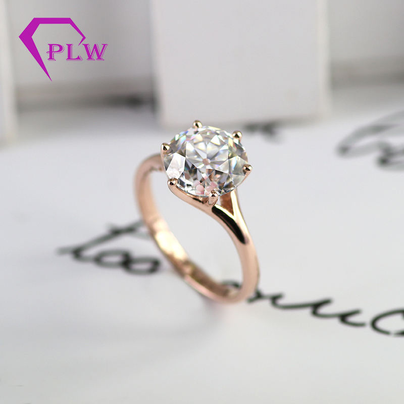 online store synthetic diamond 14 karat rose gold moissanite ring with 8mm oec stone GH