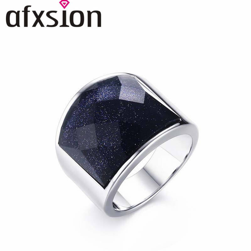 Afxsion 2018 Diseño Popular 19mm Acero inoxidable azul arenisca anillo al por mayor