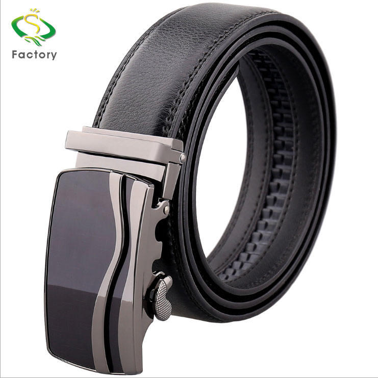 Custom Logo Top Quality Automatic Buckle brand Genuine Leather Belt for Men