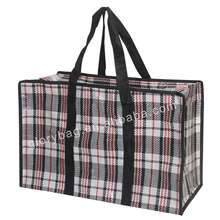 Factory wholesale waterproof black pp checked zipper storage bag