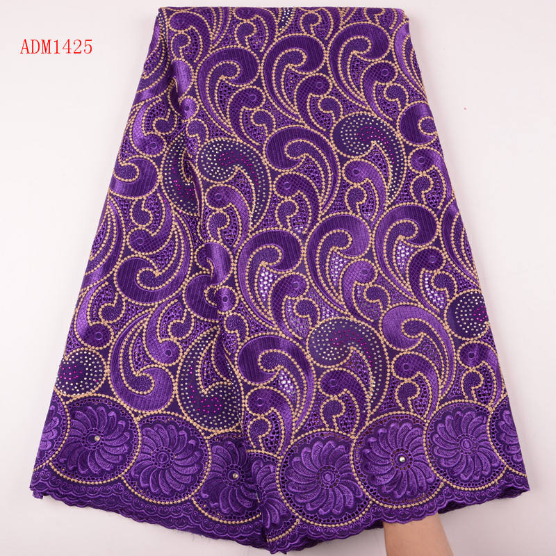 Wholesale High Quality African Swiss Voile Lace In Switzerland Purple Cotton Swiss Voile Lace For African Sewing Dress 1425
