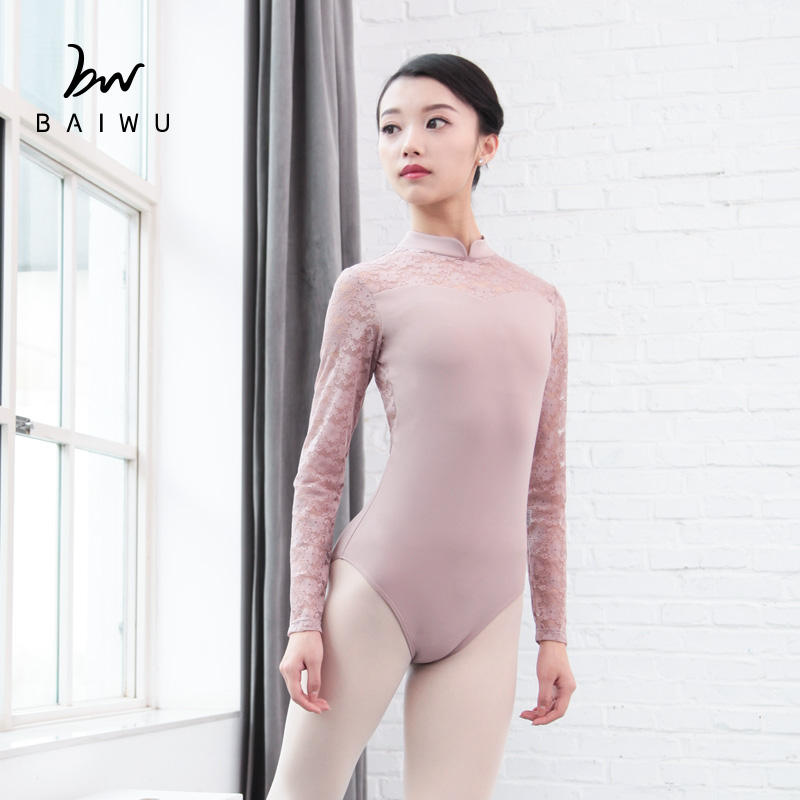 118141035 Baiwu Leotards Fashion Ballet Dancewear pink Long Sleeve lace Leotards