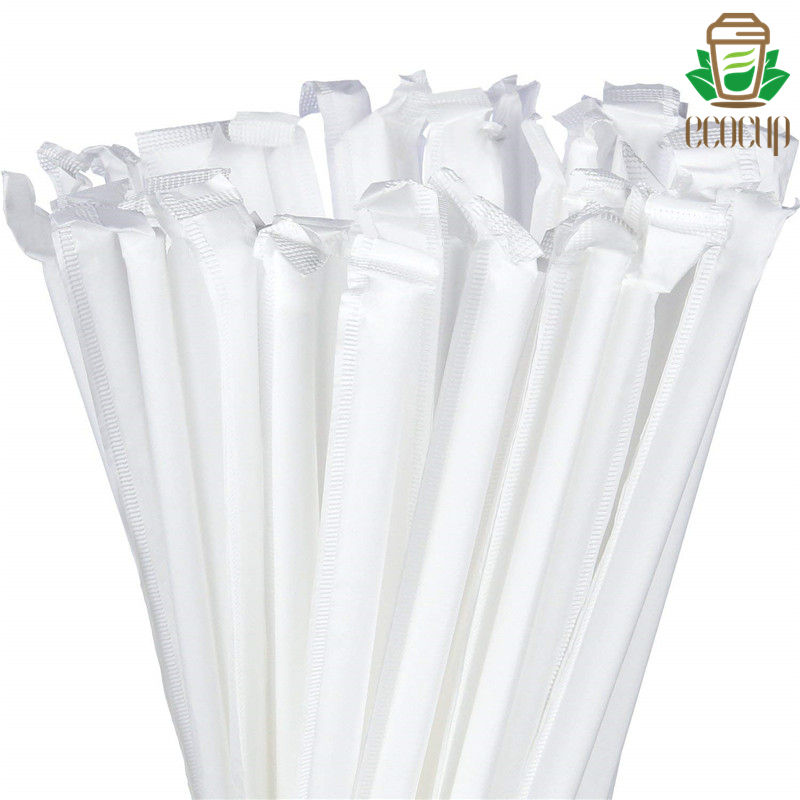 Biodegradable PLA straw ecocup straw 7mmX210mmX0.16mm flat