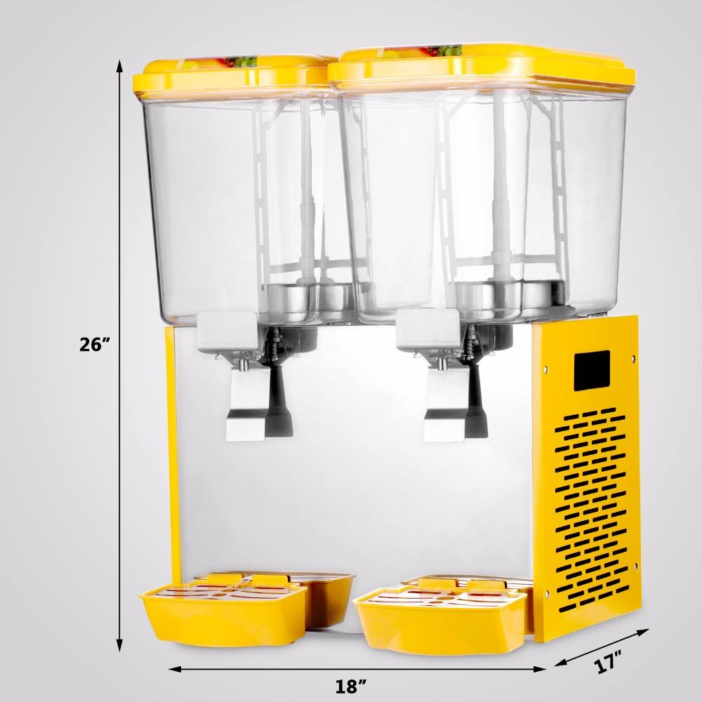 9.5 Gallon Cold Fruit Juice Beverage Ice Tea Juice Dispenser Machine with 18L 2 Tanks