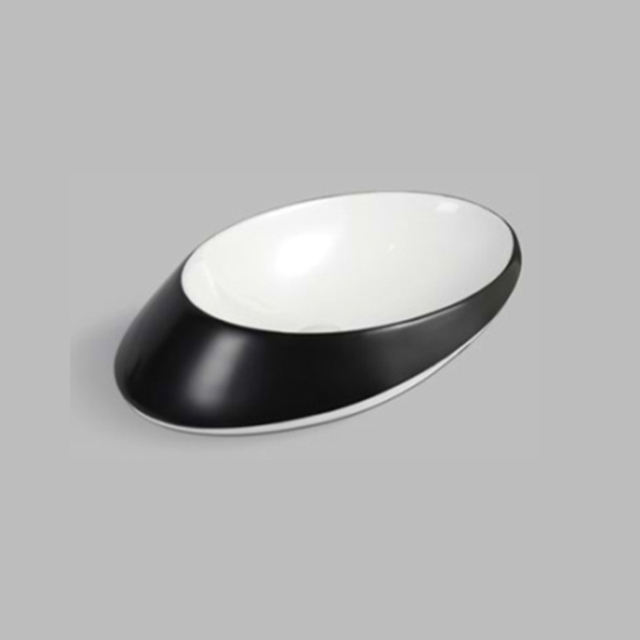 Bathroom Sanitary Ware Black and White Color Ceramic Wash Basin with Base Stand