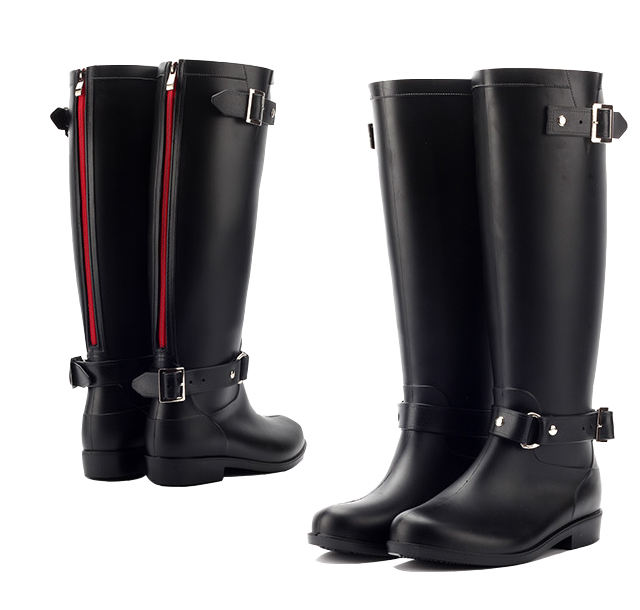 Fashion Ladies Black Wellies Water Proof Anti Slip Leather Knee Rain Boots