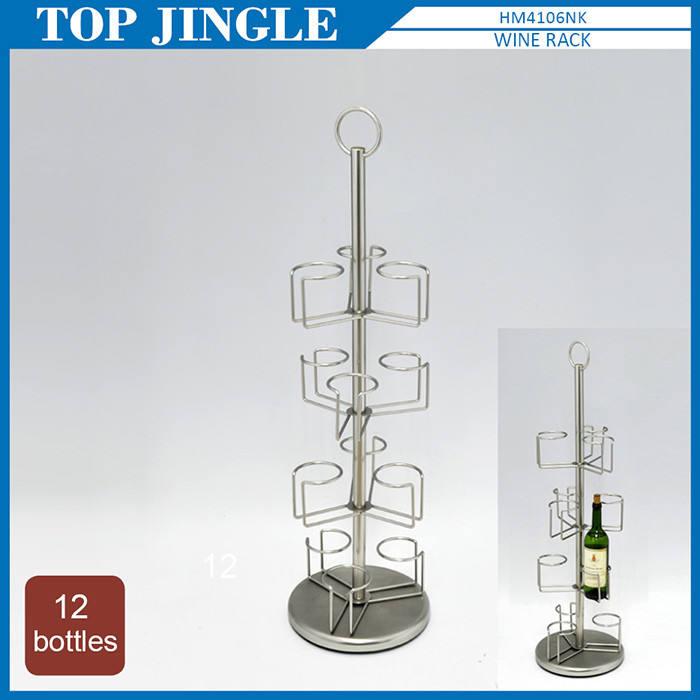 Alambre 4 tier estante del vino con la docena de botellas