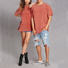 her and his custom plain white distressed washed short sleeve oversized t shirt
