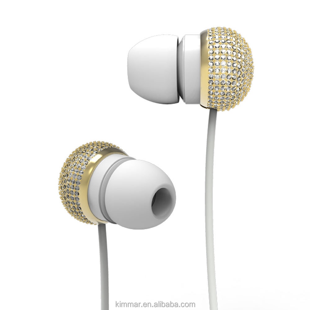 Attractive design 10mm speaker super clear sound wired metal earphone with very pretty bling diamond