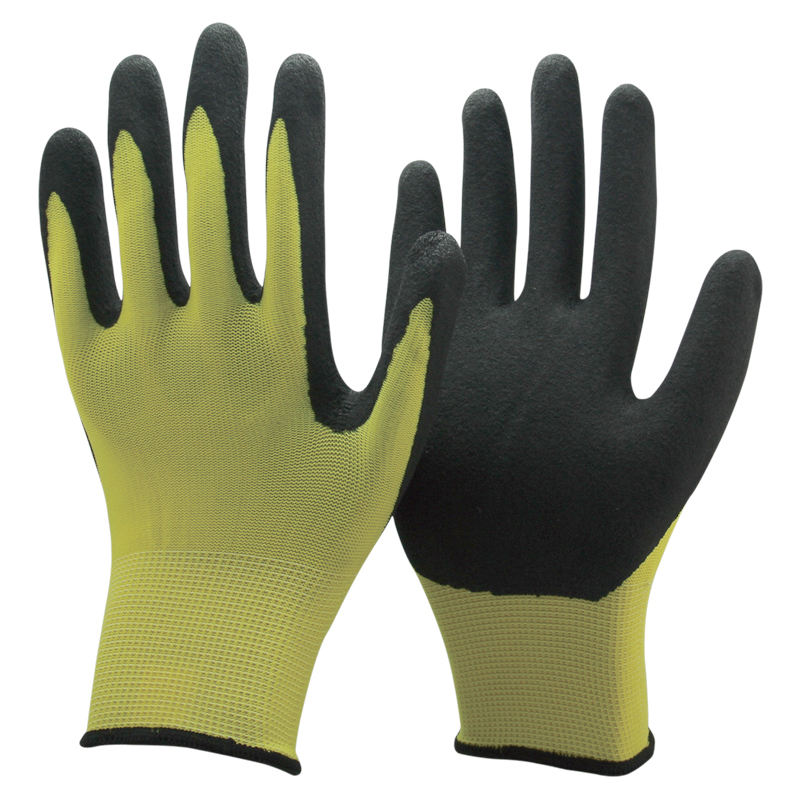 NMSHIELD rubber gloves yellow color 13g gloves nitrile coated black sandy finish coating glove