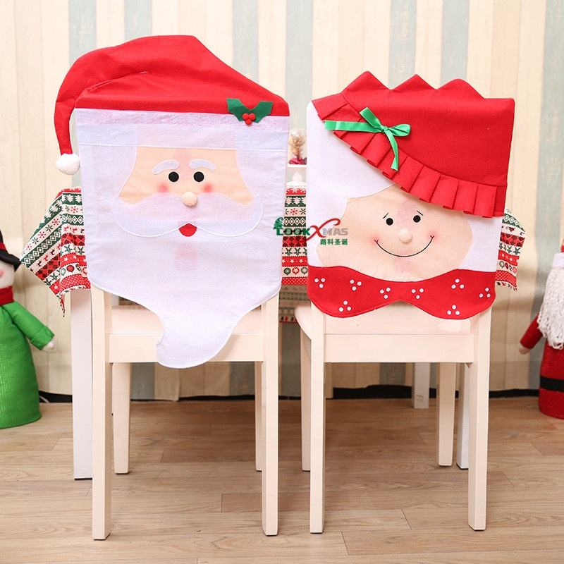 Christmas seat covers Model Mr & Mrs Santa Claus Cute Chair Back Seat Covers