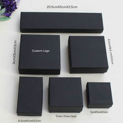 Wholesale custom logo black packaging paper jewelry gift box