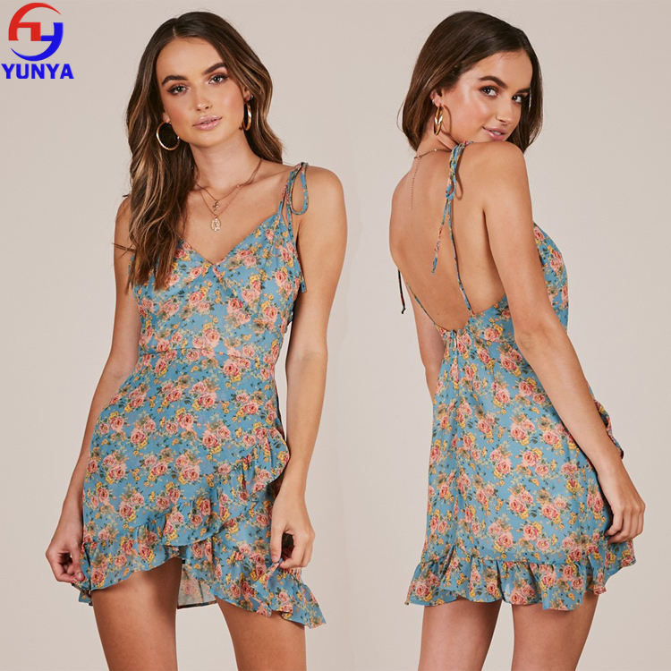 2018 Newest hot floral printed fabrics women summer spaghetti strap wrap min dress