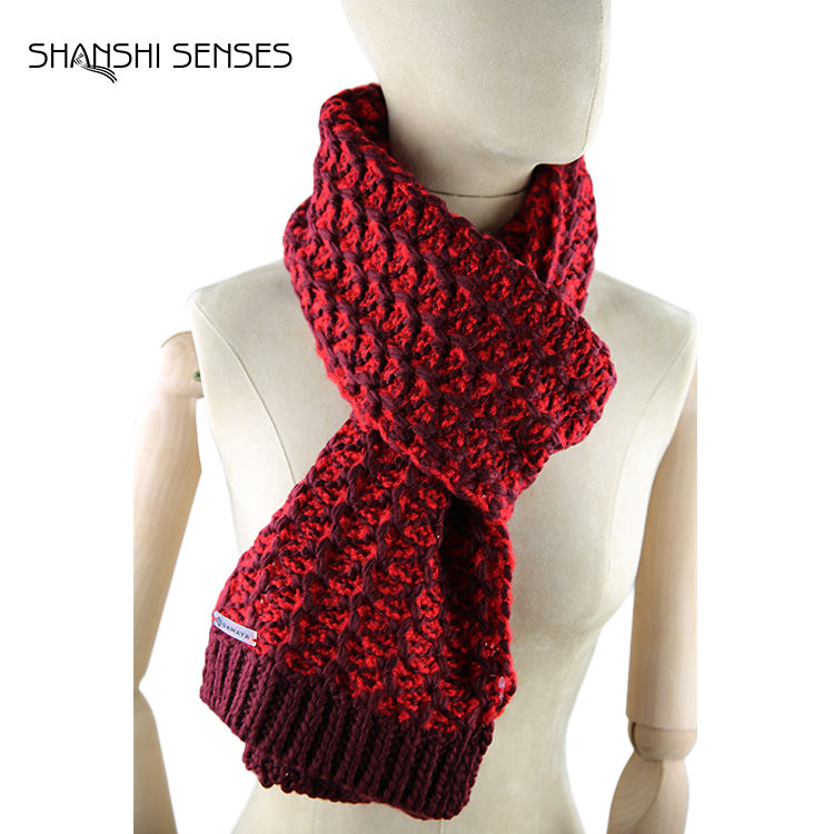 Winter thick knit acrylic fashion rose scarf plain red scarf