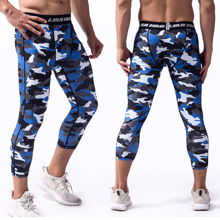 Wholesale Men's Camouflage Running Fitness 3/4 Pants Sports Active Compression Leggings