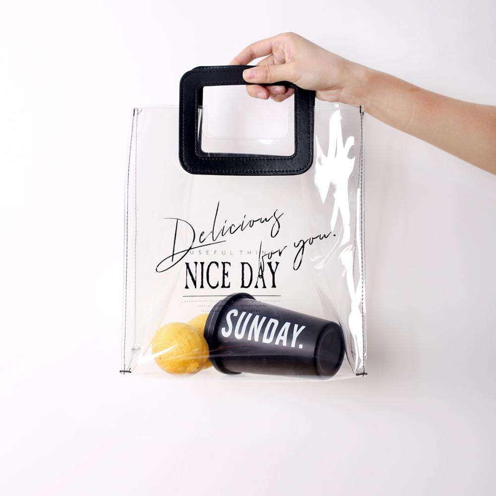 summer clear pvc shopping bag with square leather handle transparent ladies beach tote handbag