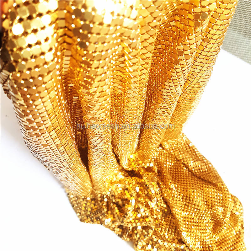 Gold Color Metal sequin fabric with 8mm Aluminum Flakes For Drapery