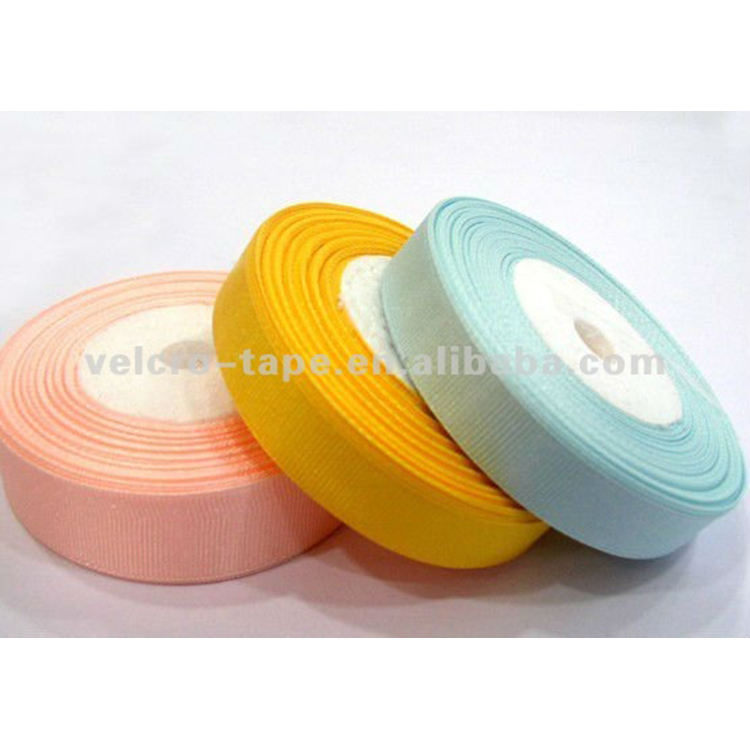hook loop nylon polyester colorful elastic reversible Satin Ribbon