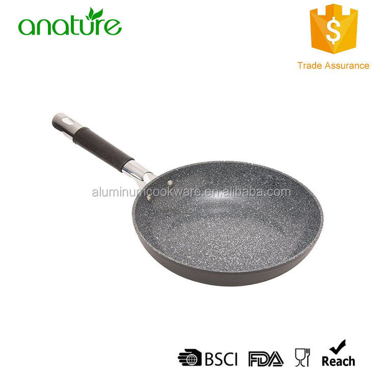 HQ-2013 Popular On Amazon Forged Korea Marble Coating Silicon Handle Aluminum Kitchen Cooking Pan
