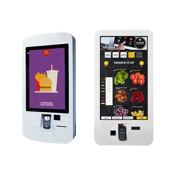 32'' self service touch screen order fast food payment kiosk with thermal printer and QR code scanner
