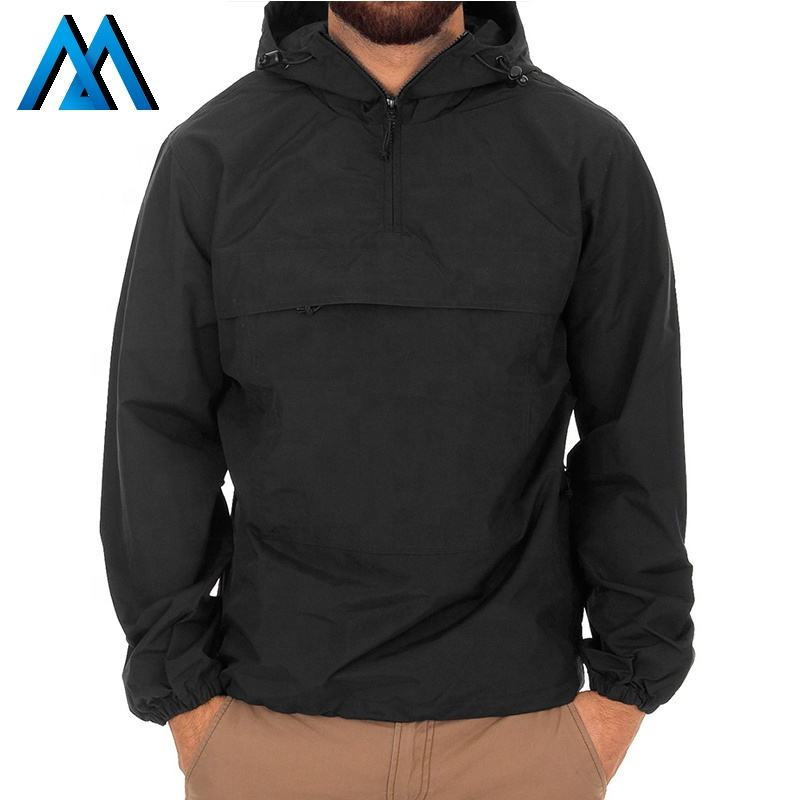 Screen Printing Logo Black Oem Jackets Print Half Zip Plain Nylon Pullover Mens Hoodie Custom Jacket Windbreaker