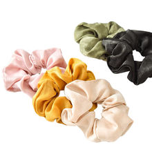 Commuter solid color satin simple hairline hair ring female hair srunchies