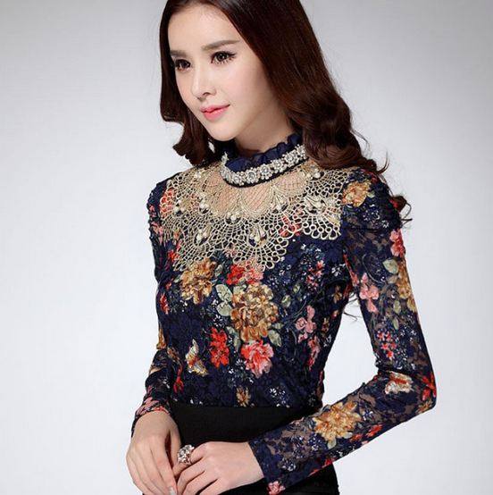 2016 Han edition new women's wear long sleeve lace fashion blouse